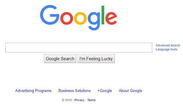 Google homepage 2016