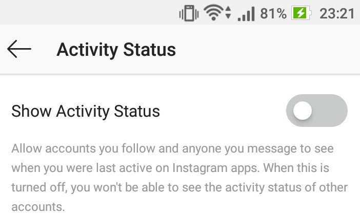 How to turn off Activity Status in Instagram