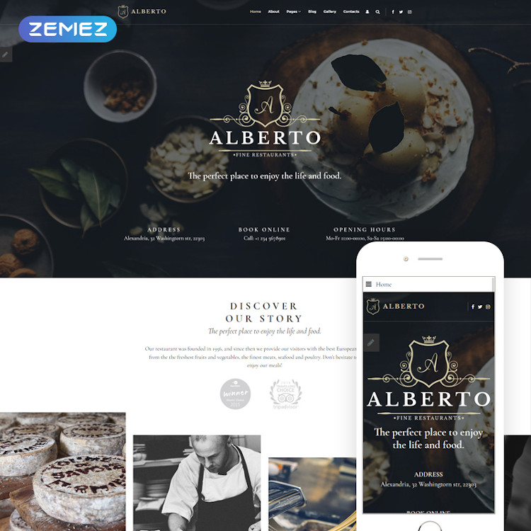 Alberto - Restaurant Business Joomla Theme