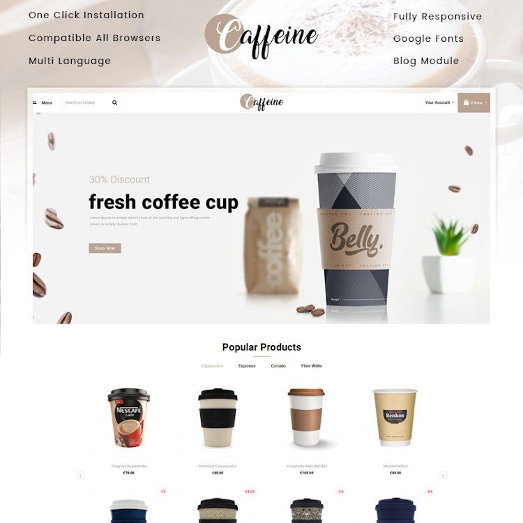 Caffeine - Coffee Store PrestaShop Theme