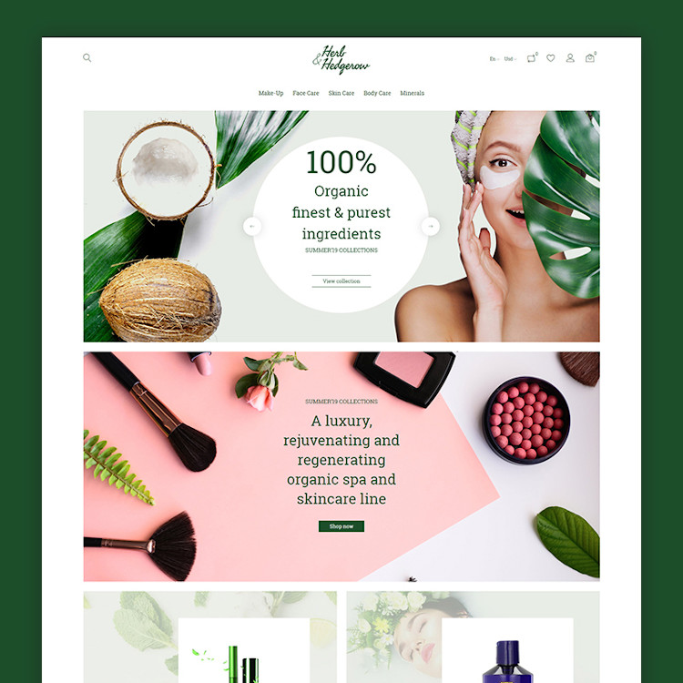 Herb and Hedgerow - Organic Cosmetics Store PrestaShop Theme
