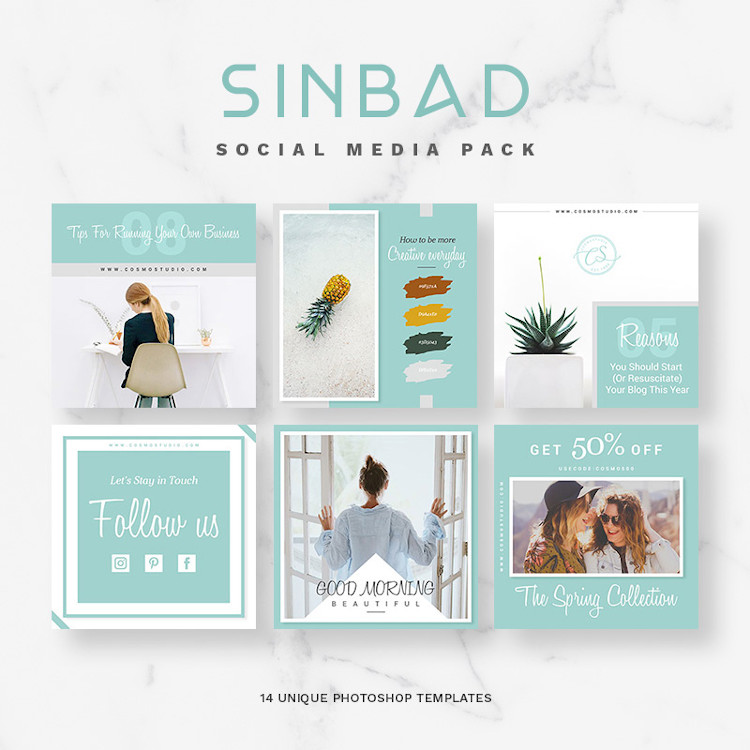 14 Photoshop templates for Social media and Instagram