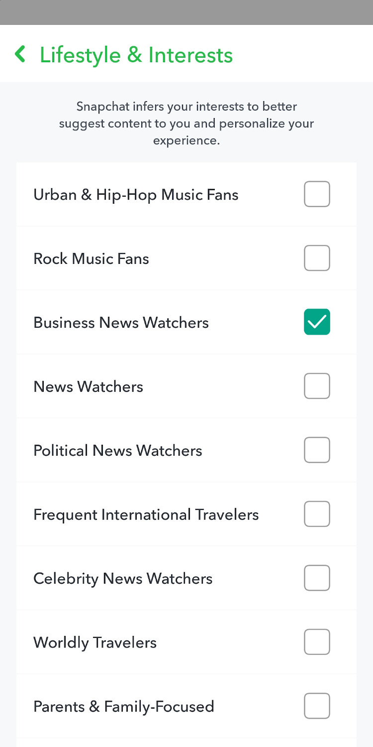 Personalize your Snapchat experience based on interests