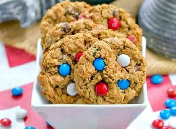 Patriotic Monster Cookies - Peanut butter oatmeal cookies chock-full of M&M's and chocolate chips