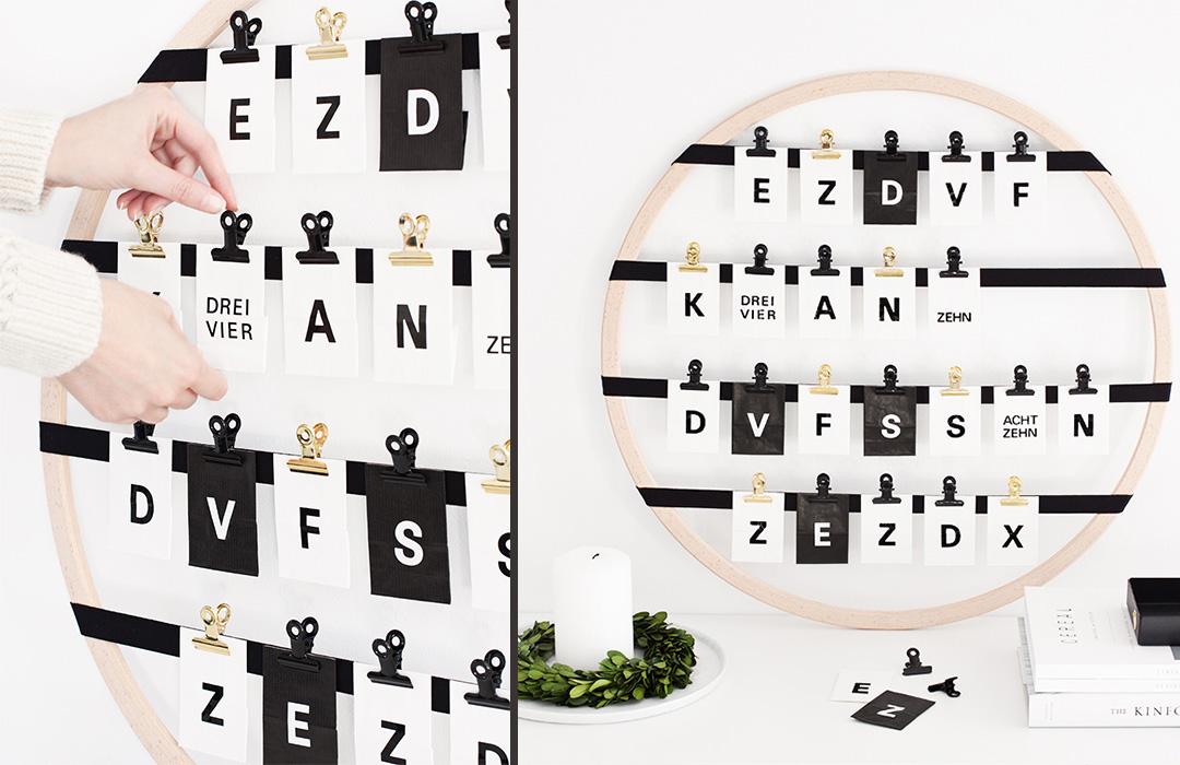 minimalistische Adventskalender mit Blättchen zum Selbermachen