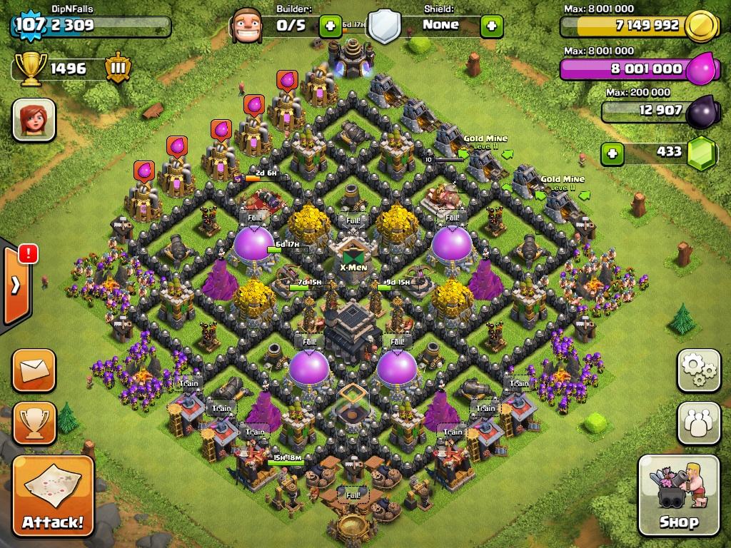 best clash of clans town hall level 9 defense base design jpg ...