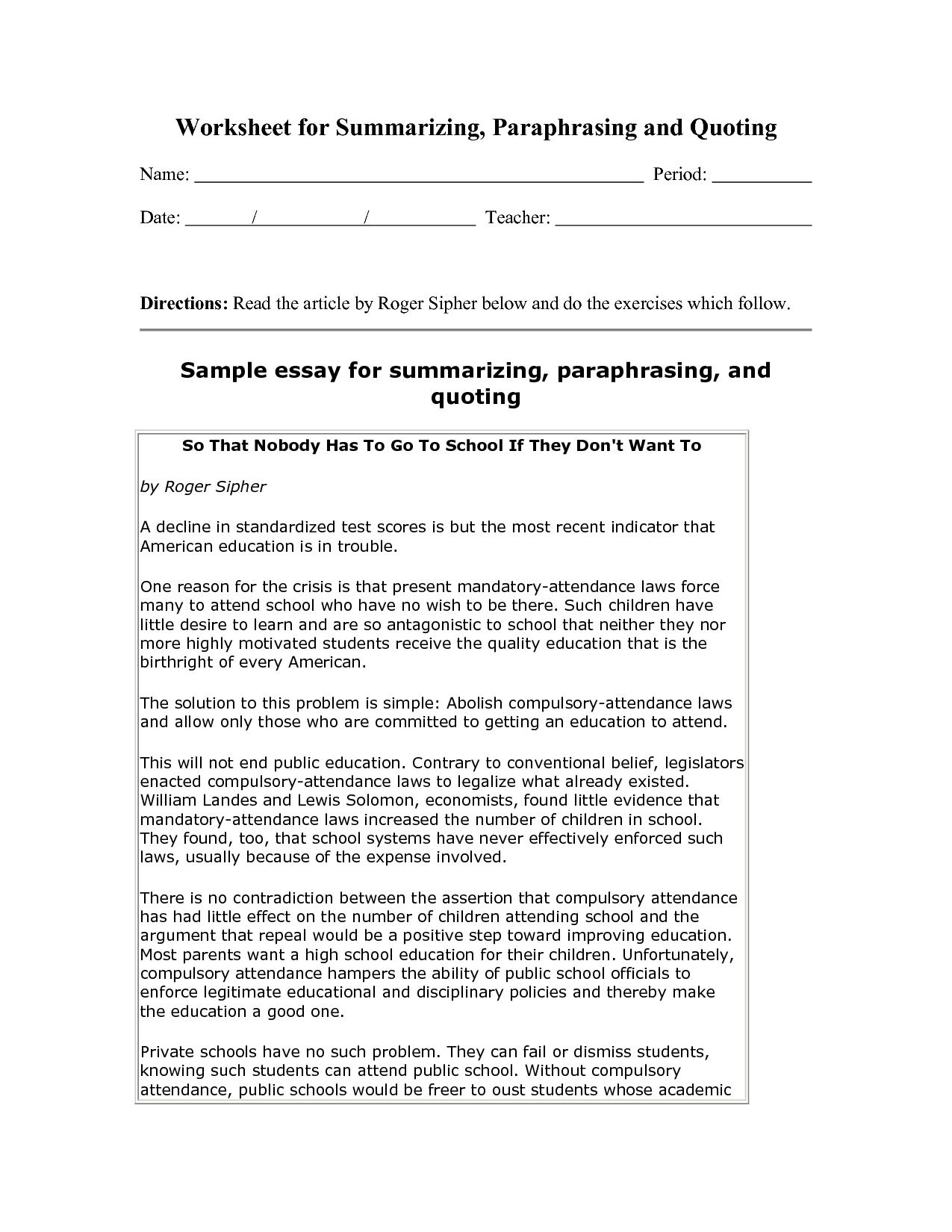 001 Example Of Summarizing Worksheets How To Summarize An