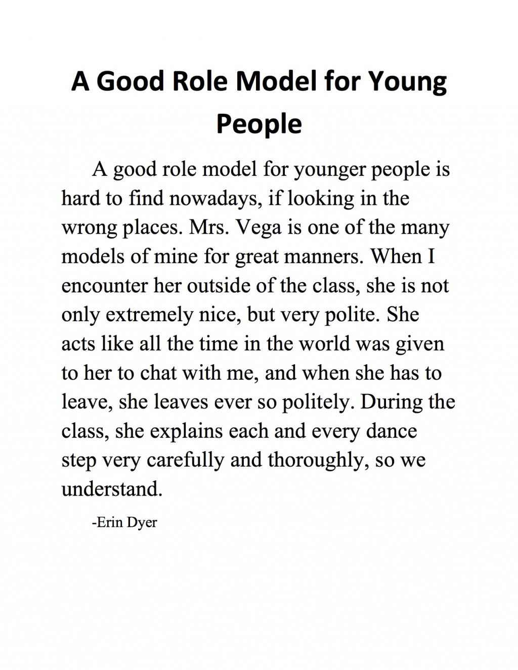 Awesome Role Model Essay Thatsnotus
