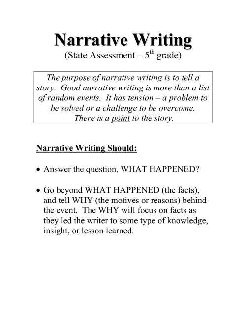 small resolution of Sample 5th Grade Writing Assignments