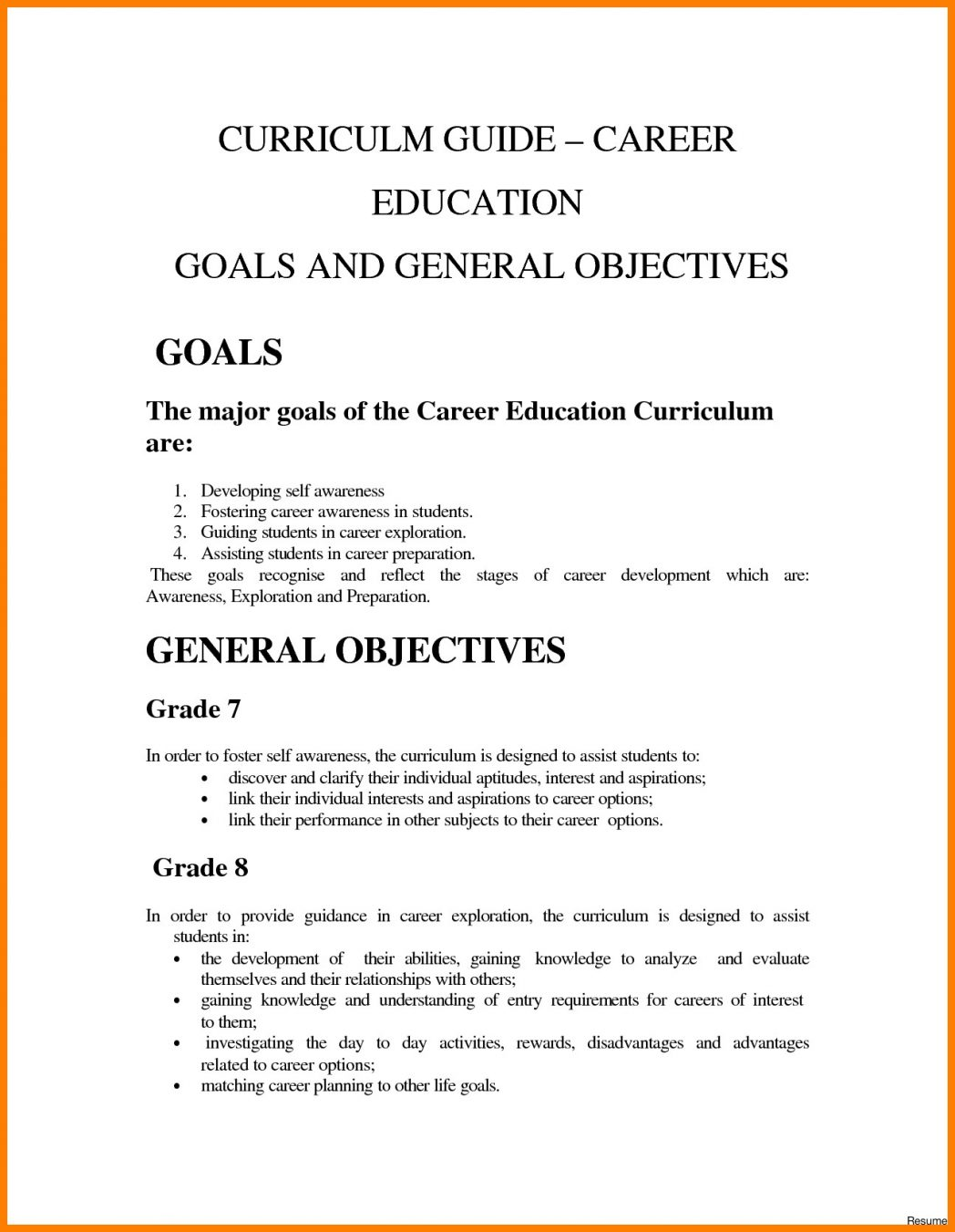 career aspiration examples in resume