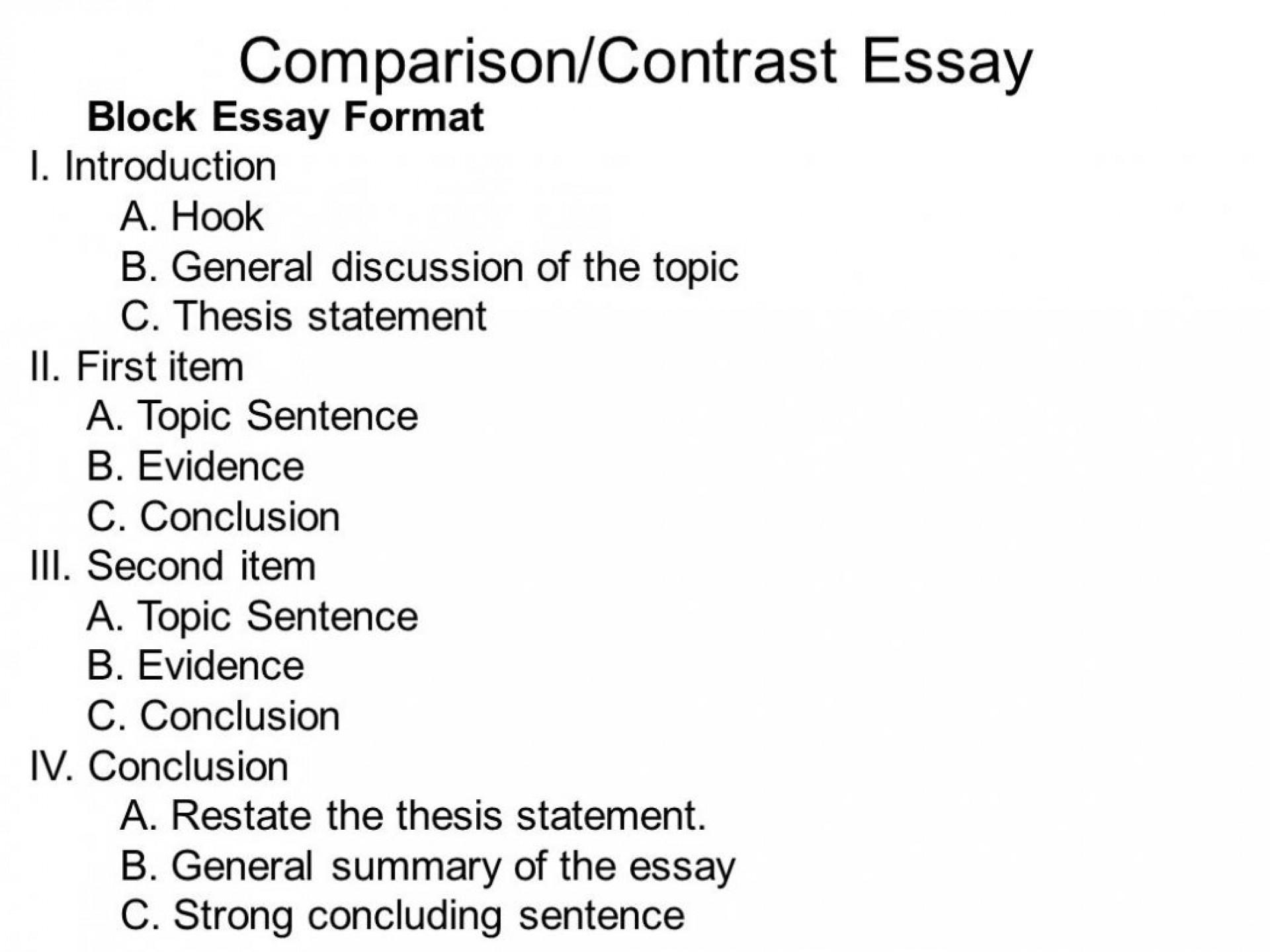 013 Comparison Essay Outline Format Template