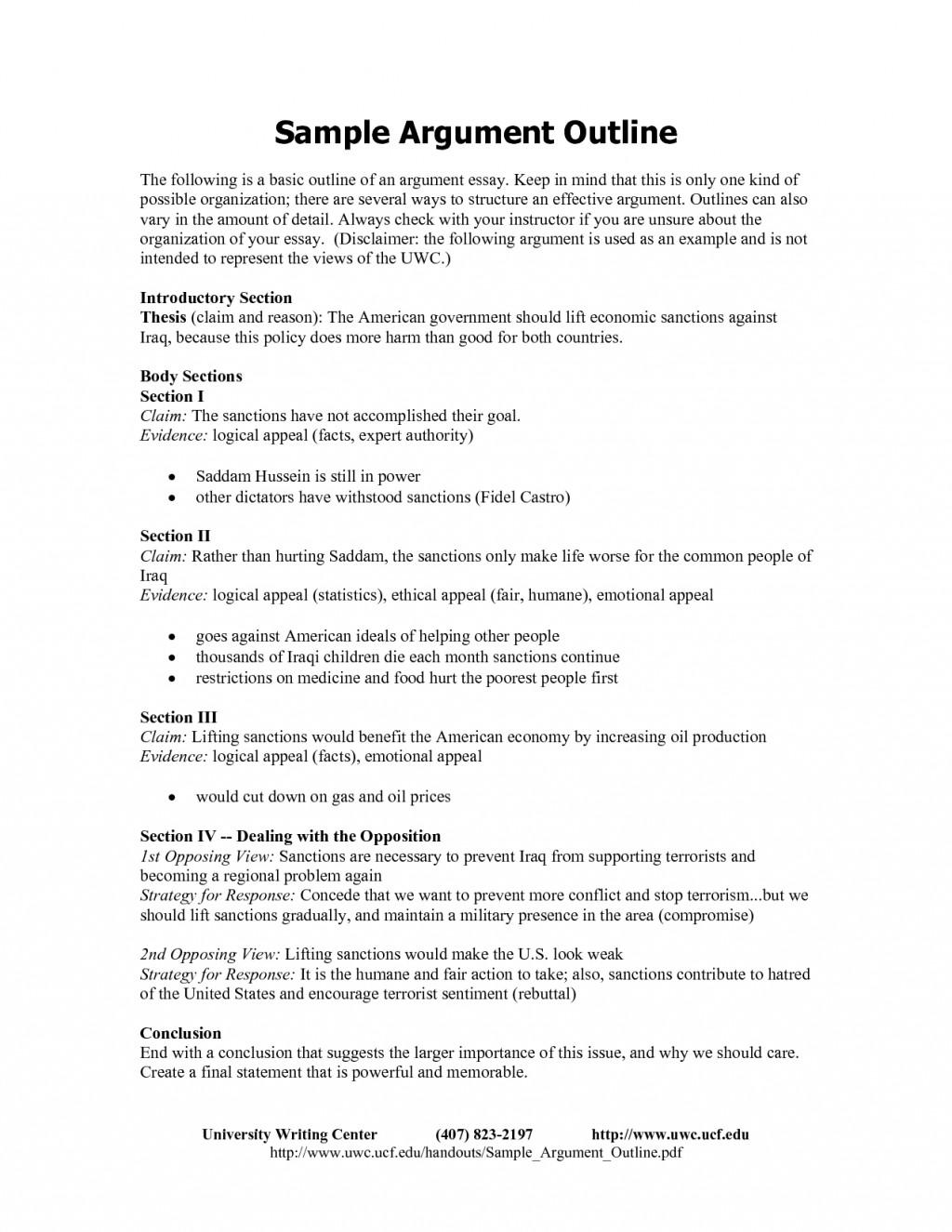 003 Argument Essay Outline Format Research An