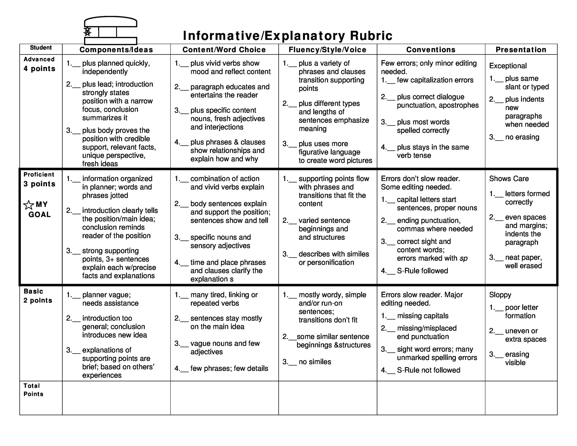 hight resolution of Narrative Essay Rubric 4th Grade - Free Photos