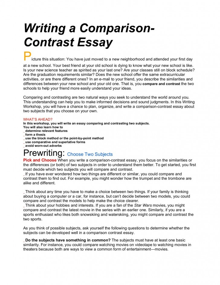example of a comparison and contrast essay