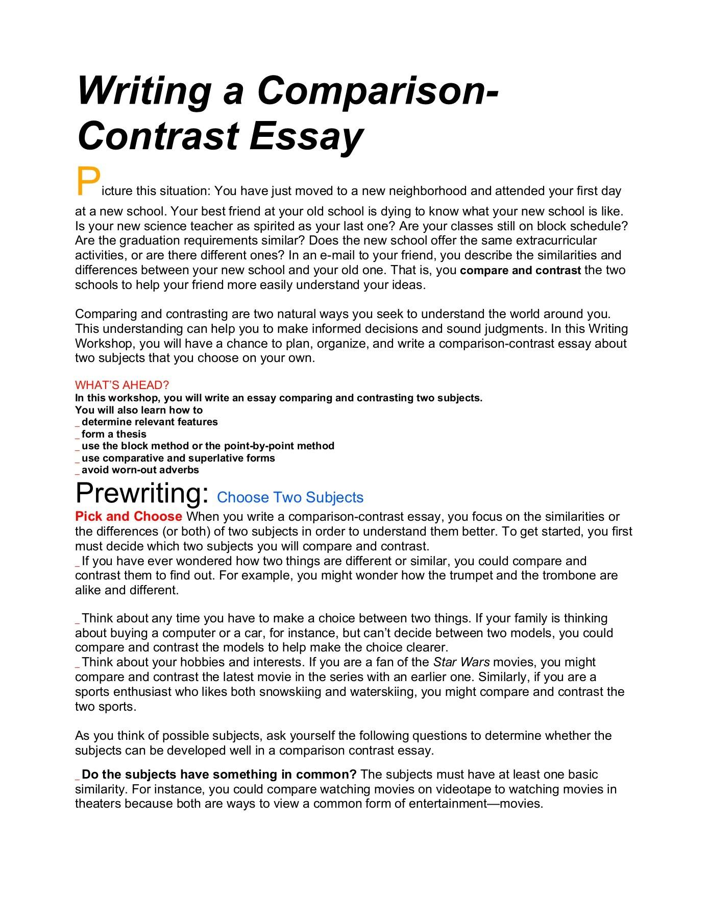 003 Essay Example Comparison And Thatsnotus