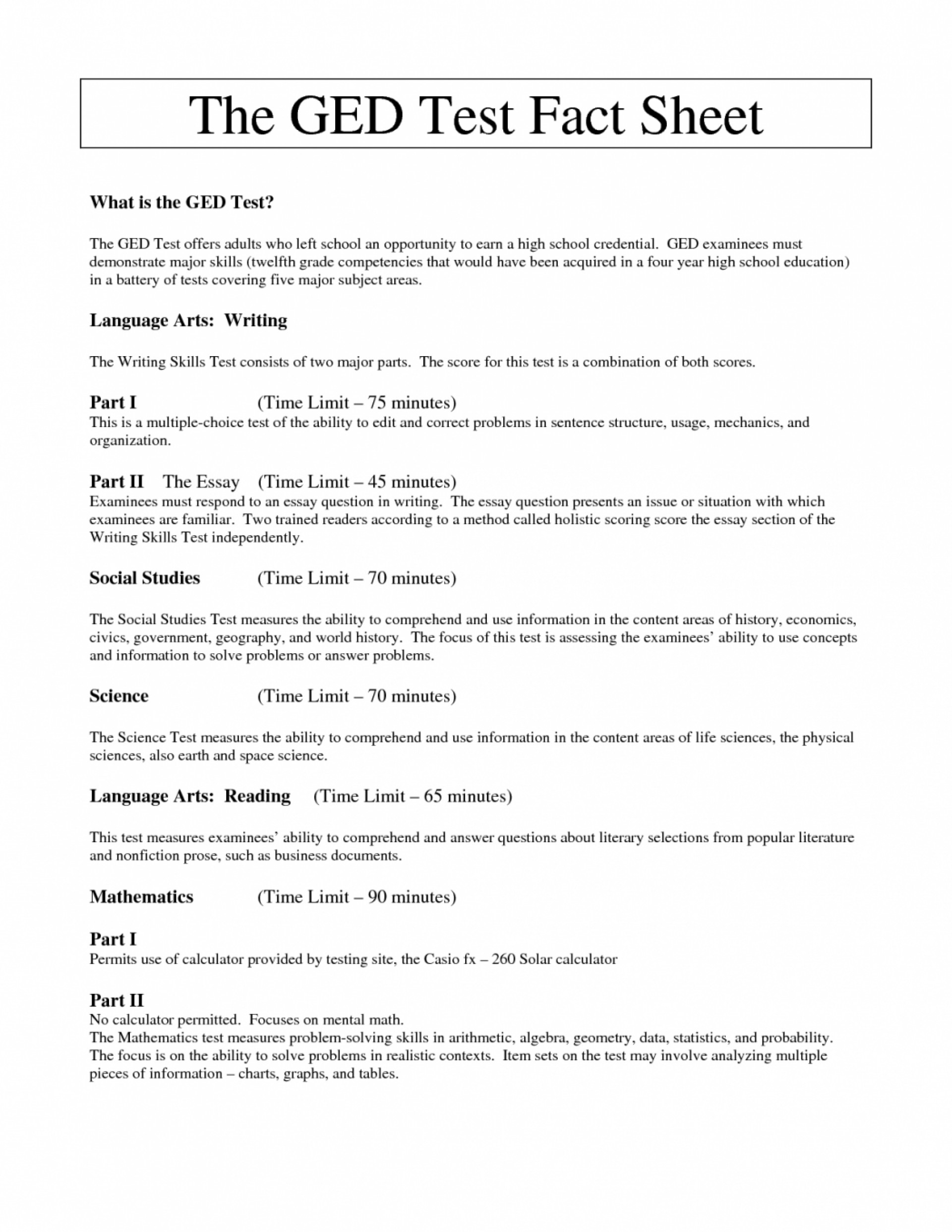 Practice Essay Topics For Ged Test