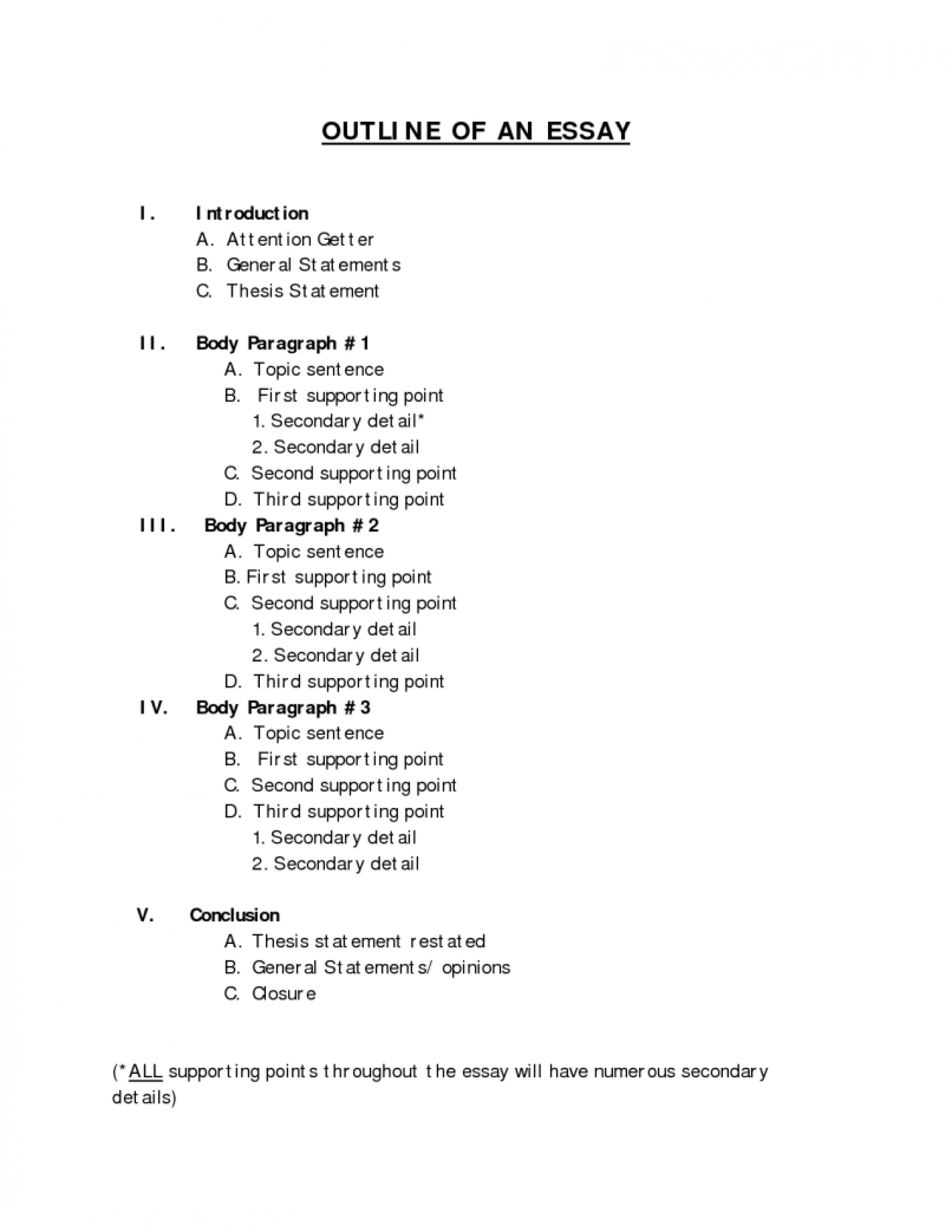 005 Essay Example Page Outline Middle School Format For