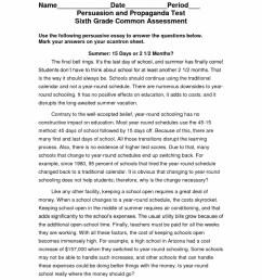Persuasive Essay 6th Grade : Sixth grade Persuasive Writing [ 1324 x 1024 Pixel ]