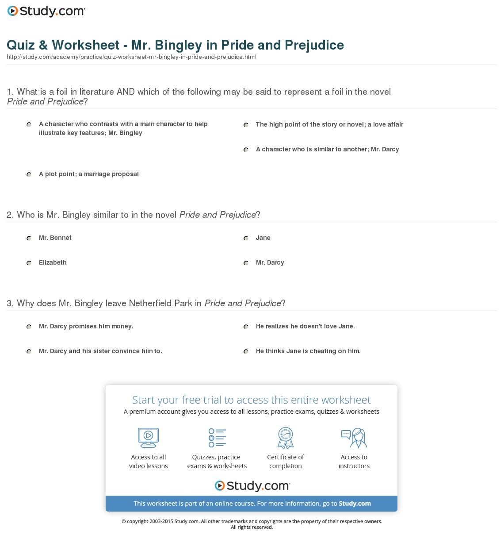 007 Essay Example Quiz Worksheet Mr Bingley In Pride And