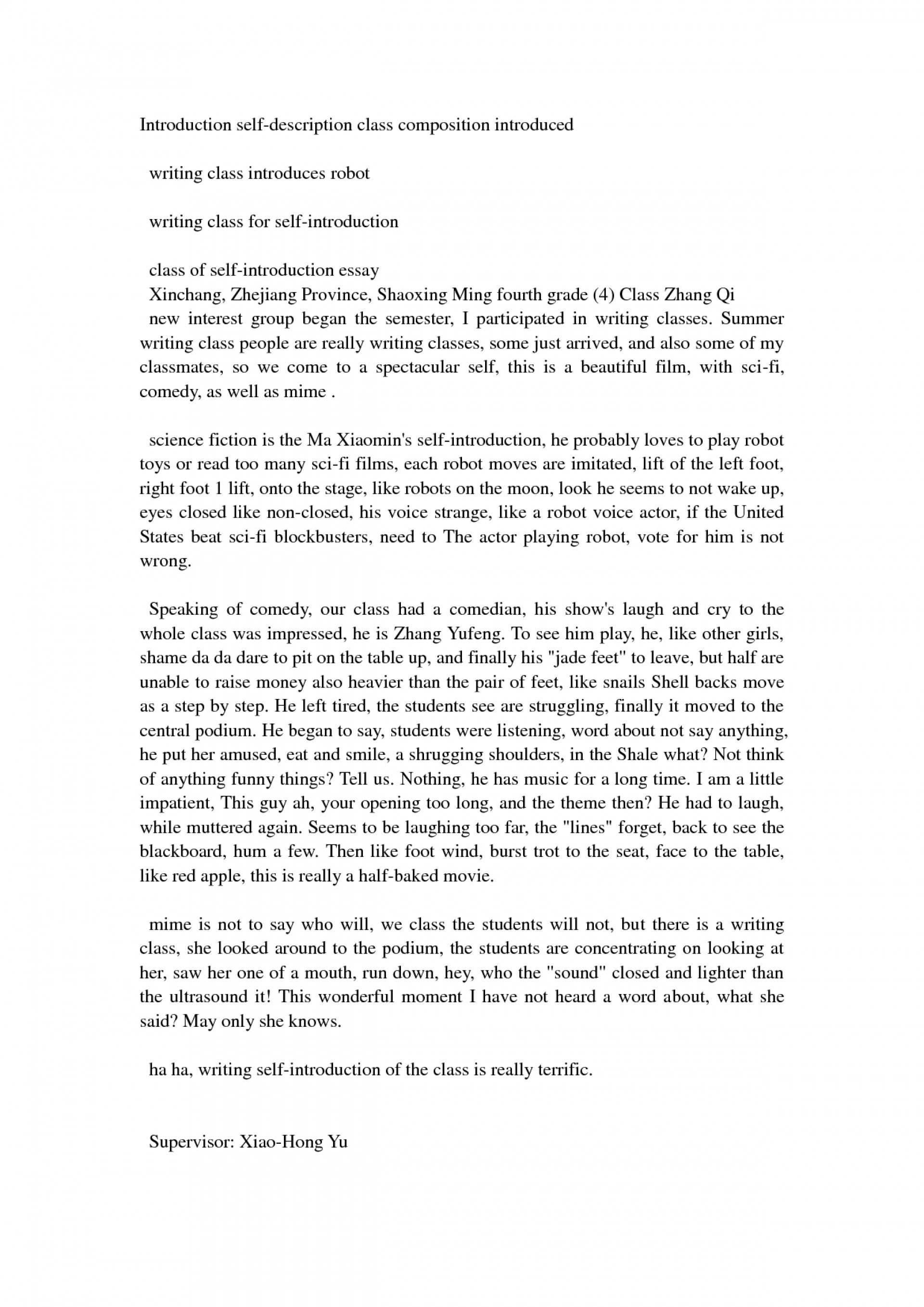 012 Self Introduction Essay Example Letter Thatsnotus