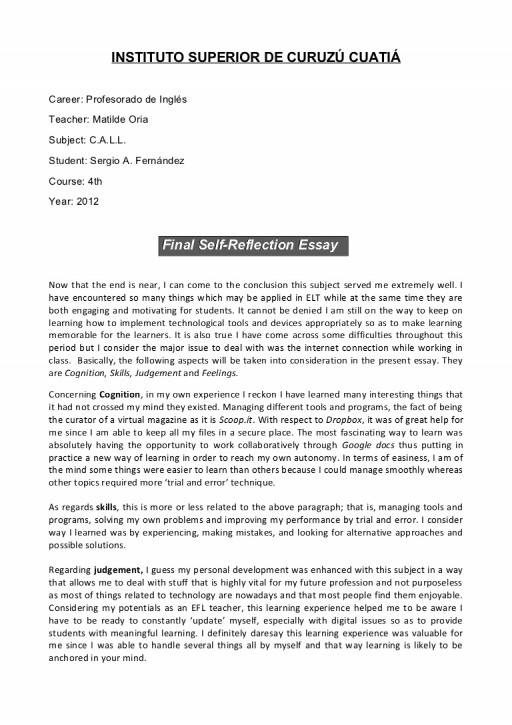 005 Reflective Essay Thesis Statement Examples Sample