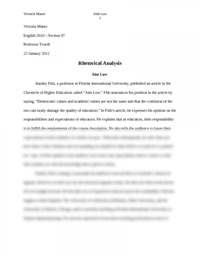 Rhetorical Analysis Essay Example College Board