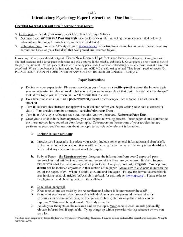 sample apa psychology research paper
