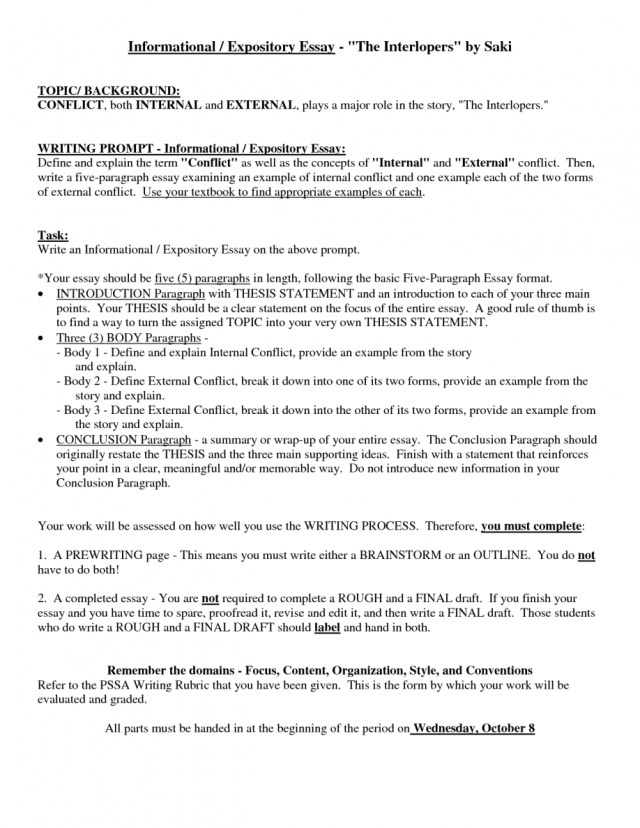012 Paragraph Expository Essay Outline Writings And Essays Page
