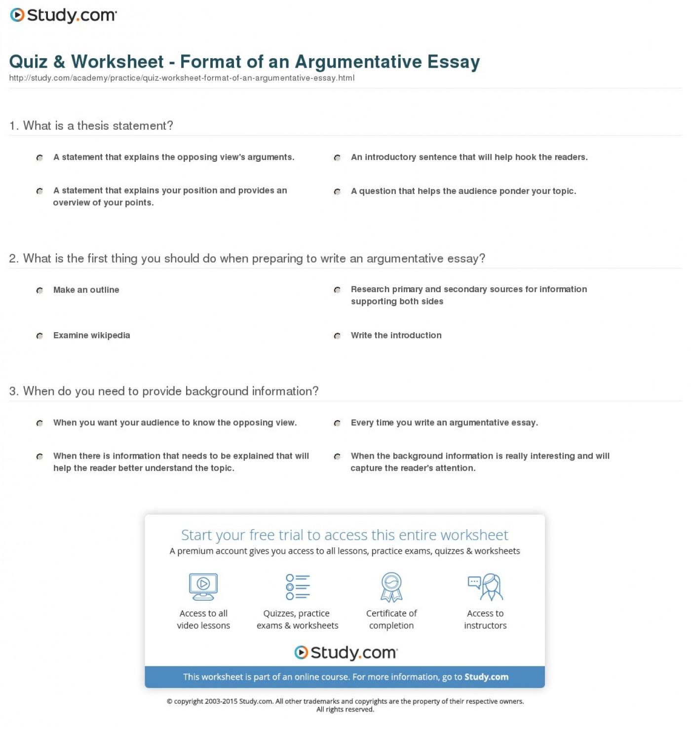 011 Essay Example Argument Format Argumentative Structure