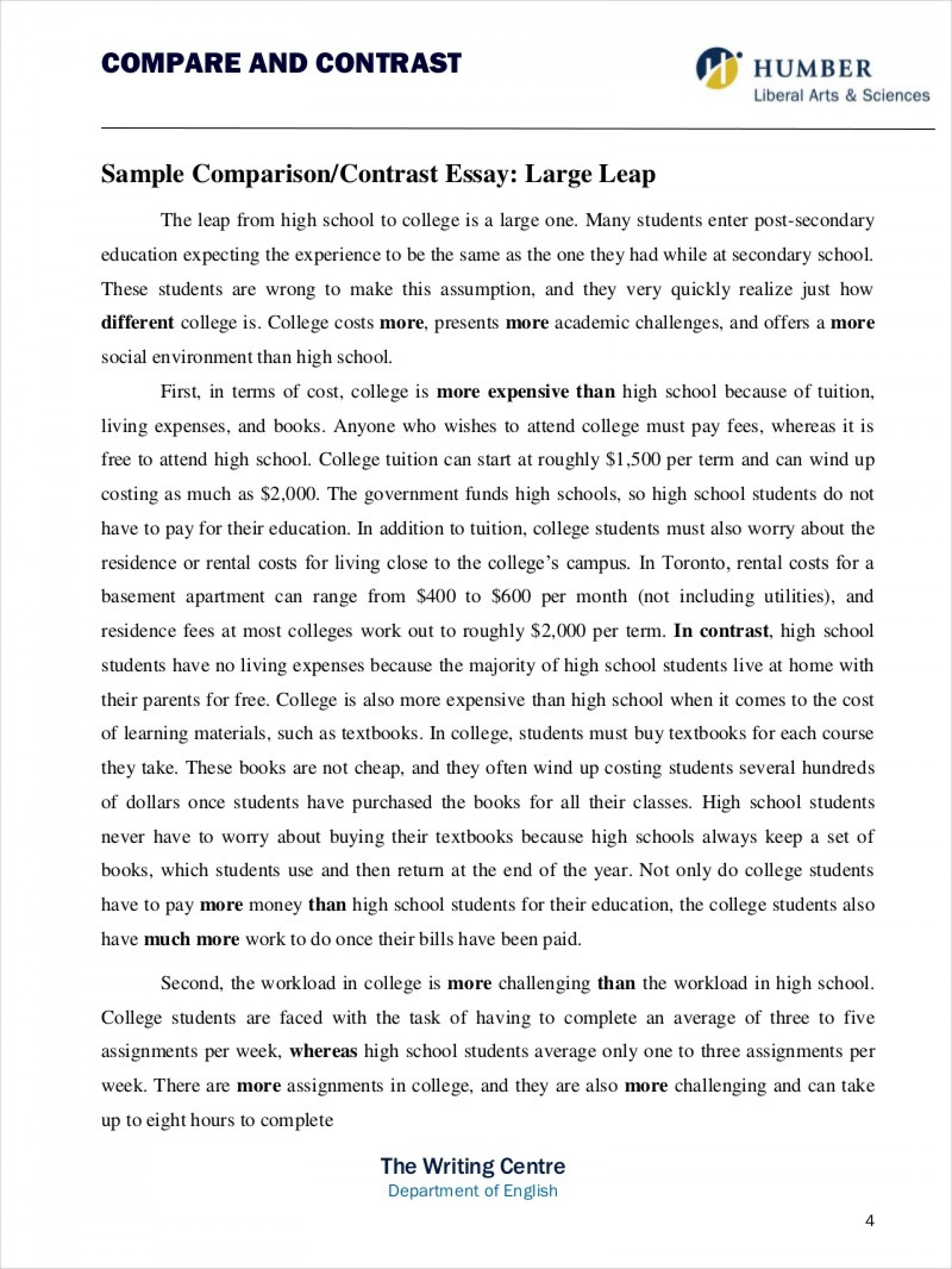 019 Example Comparison And Contrast Essay Writing College