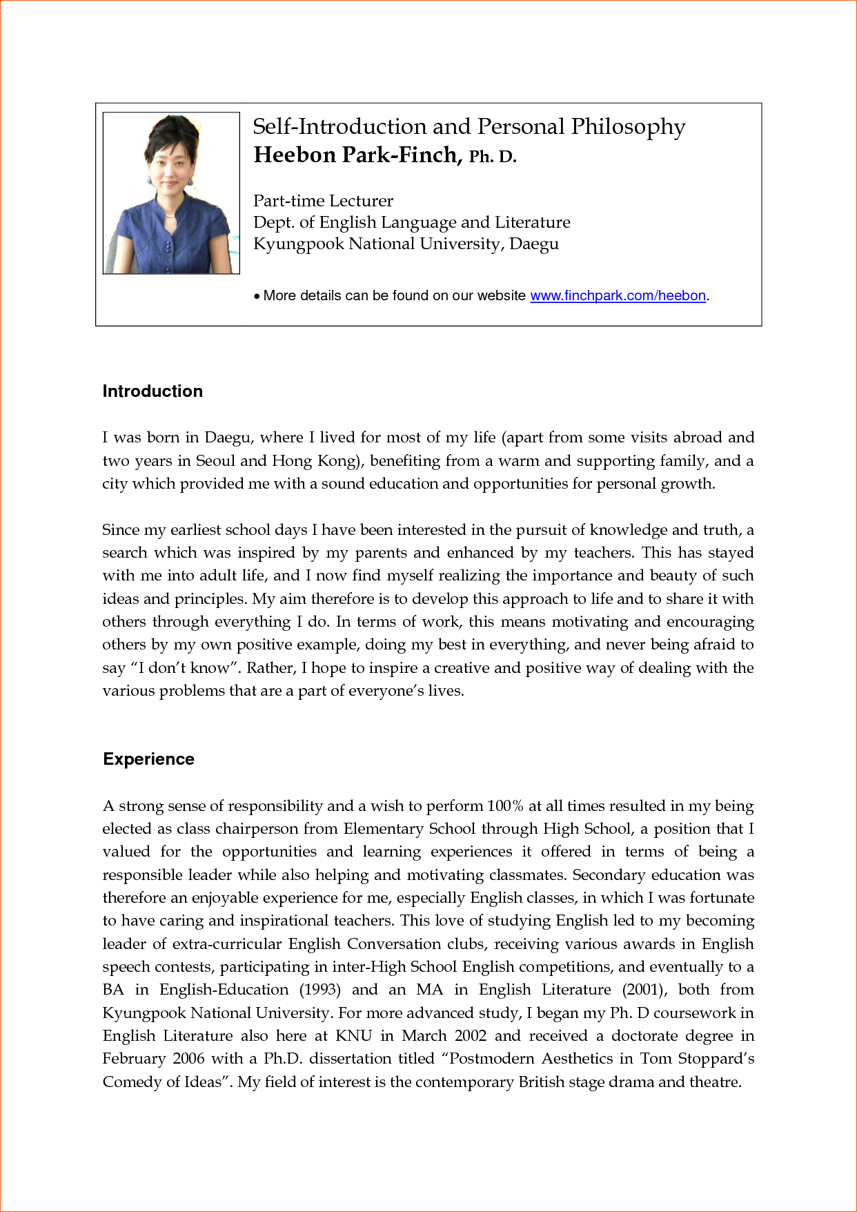 Sample Essay About Myself For Job