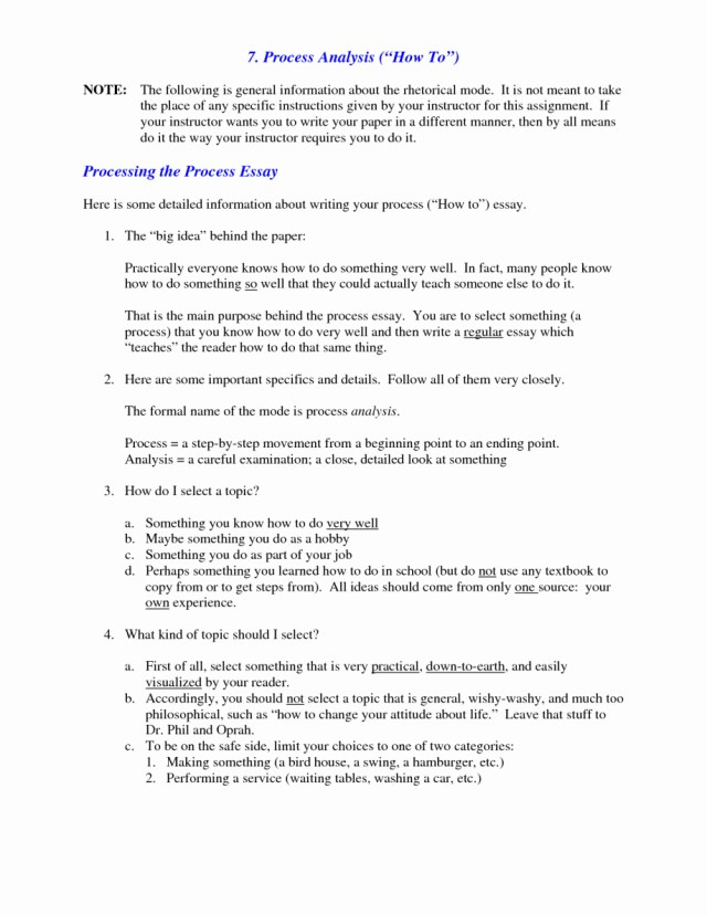 Topics To Write A Process Analysis Essay | Applydocoument co
