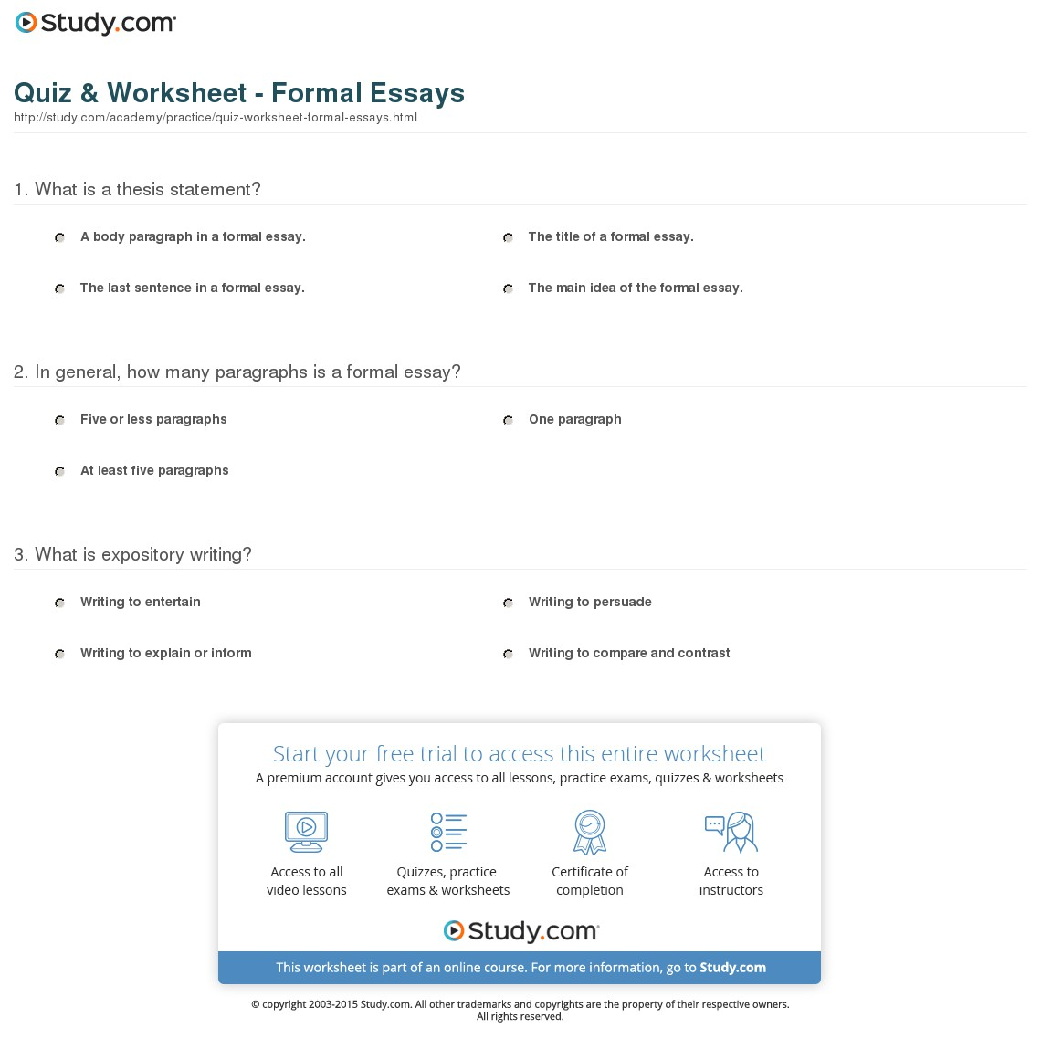 021 Quiz Worksheet Formal Essays Essay Example What Is