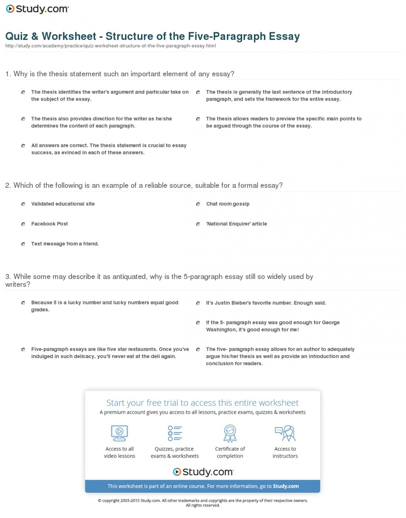 025 Paragraph Essay Example Quiz Worksheet Structure Of