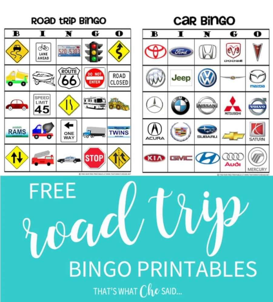 It is a graphic of Exceptional Road Trip Bingo Printables