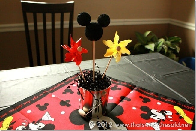 Mickey Mouse Centerpiece on Table