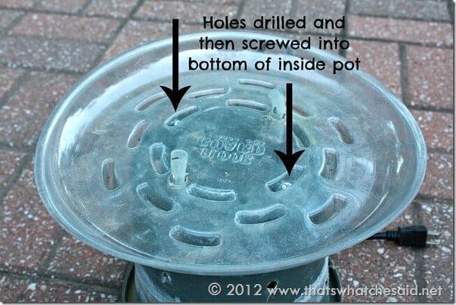 Screw Drip Catchers to inside pot