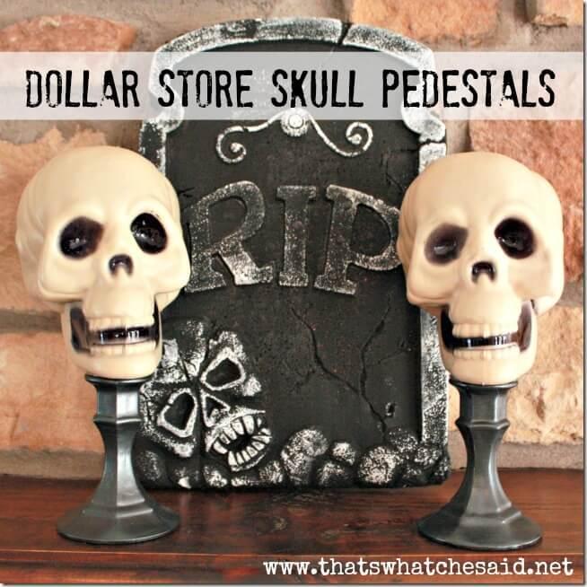 Dollar Store Skull Pedestals
