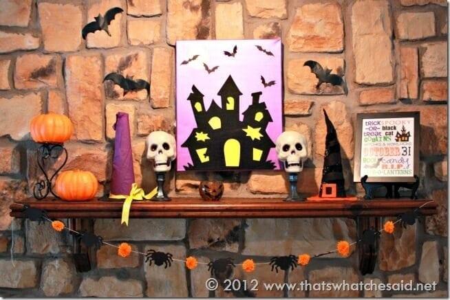 Halloween Mantle & Spider Garland