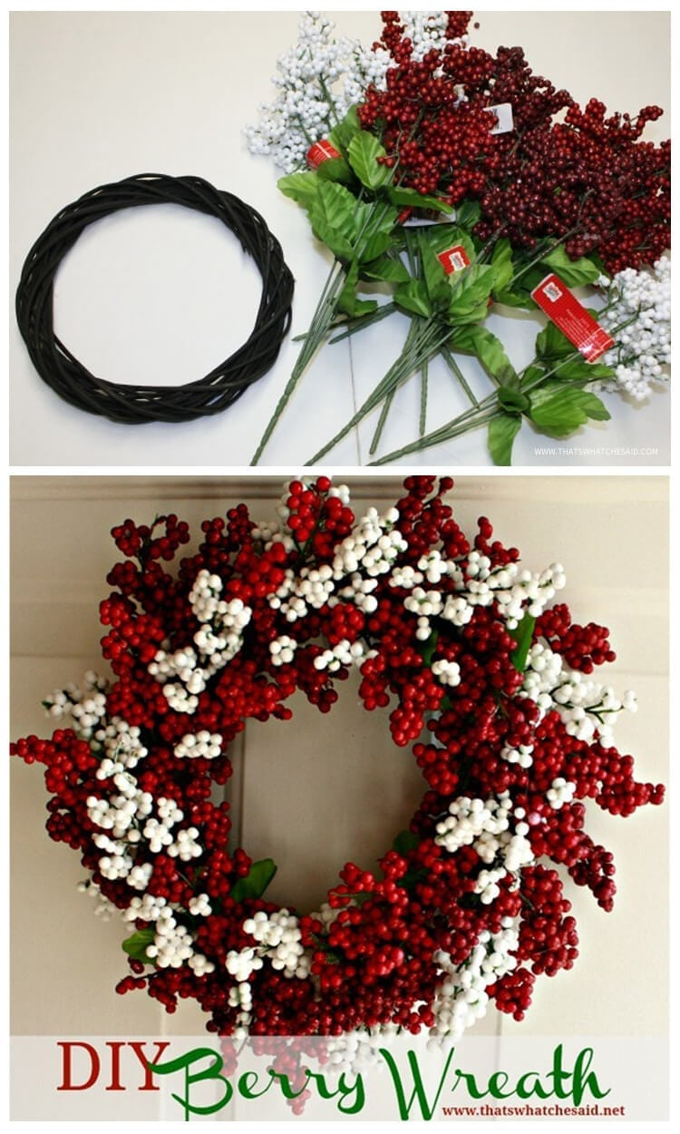 Berry Christmas Wreath Idea from Dollar Store Supplies