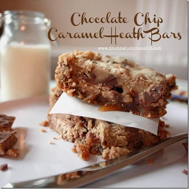 Chocolate Chip Caramel Heath Bars