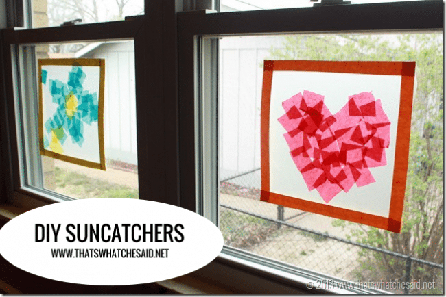 DIY Suncatchers from www.thatswhatchesaid.net Made with Tissue Paper and Press-N-Seal!