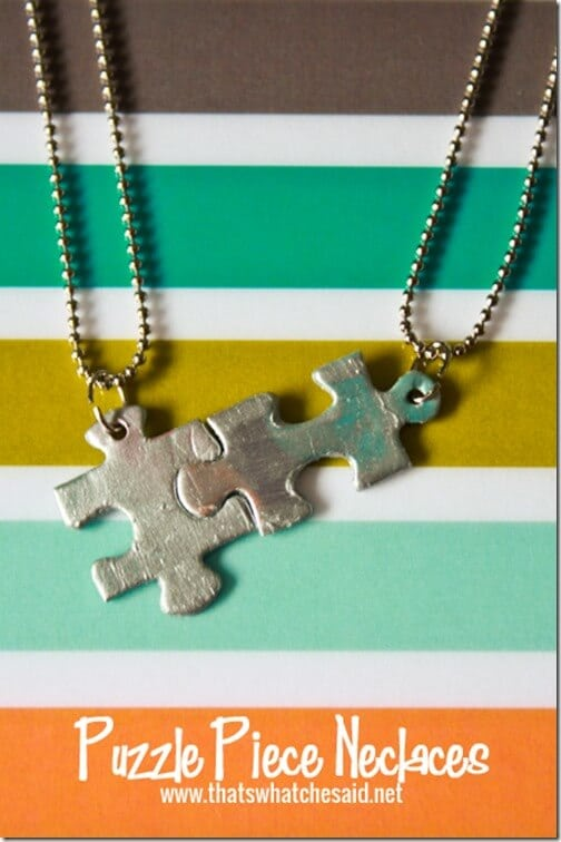 Interlocking Puzzle Piece Necklaces.  Perfect as friendship necklaces, autism awareness or mother/child necklaces!