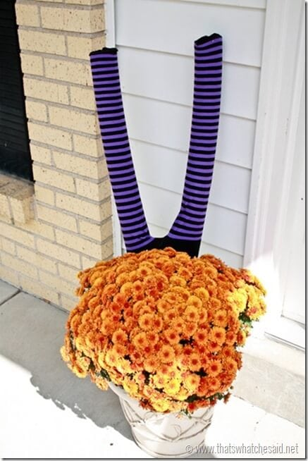 Witch Legs from Pool Noodles - porch display