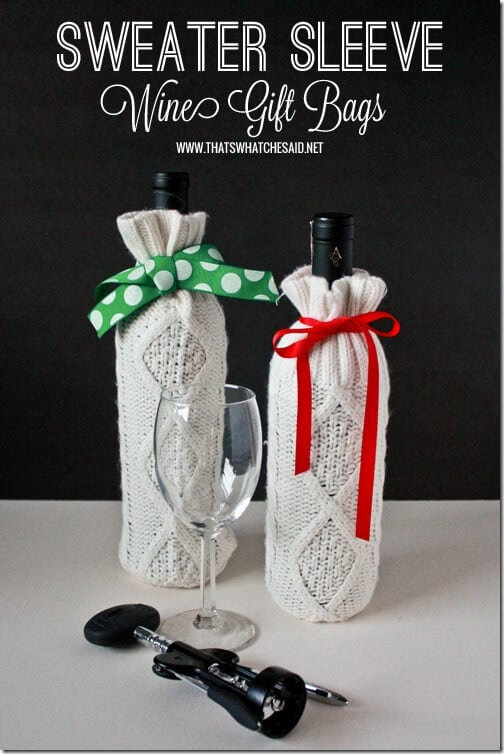 Sweater Sleeve Wine Gift Bags at thatswhatchesaid.net