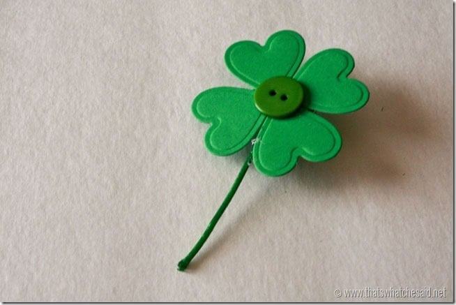 DIY Shamrock Pin- Add a button