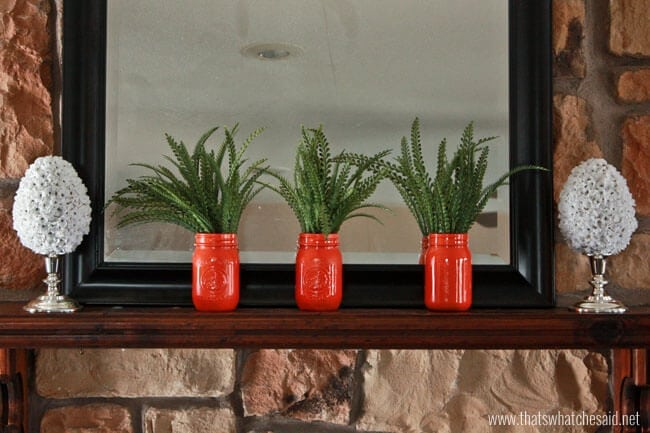 Carrot Mason Jars on Spring Mantel at thatswhatchesaid.net