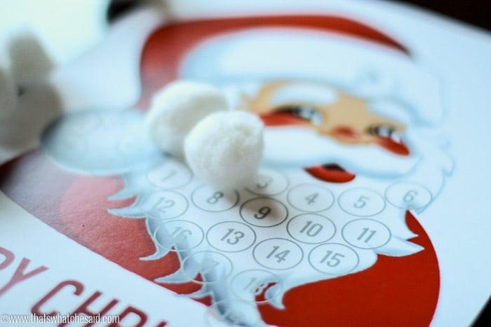 Santa Beard Advent Calendar Free Printable