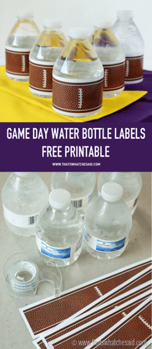 Get your Game Day Free Printable Water Bottle Labels at www.thatswhatchesaid.com. Perfect for parties!