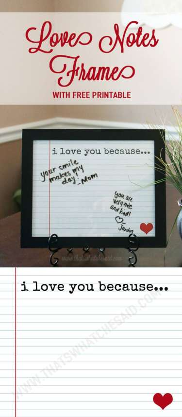 Love Notes Frame + Free Printable www.thatswhatchesaid.com